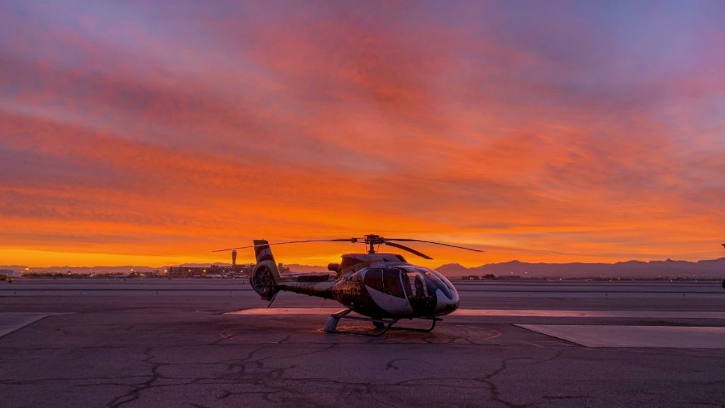 Helicopter tour at sunset